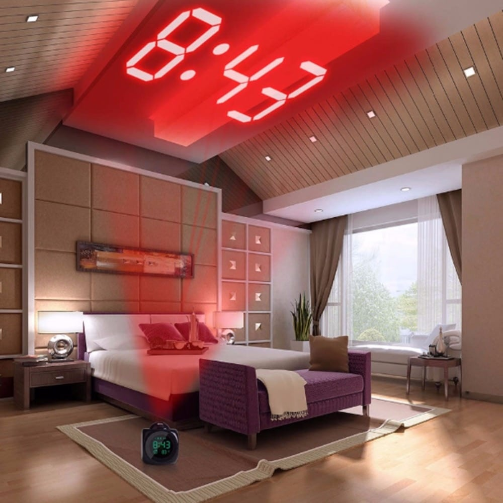 Digital Alarm Clock With LCD Projection LED Display Time and Talking Voice Prompt