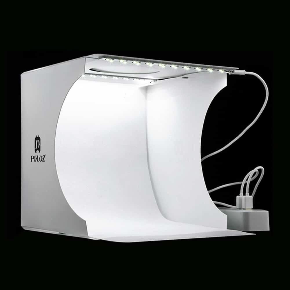 Mini Folding Lightbox Photo Studio With LED Light And Background Kit