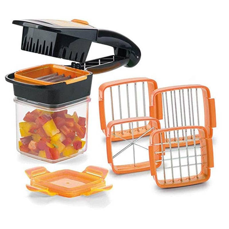 Easy To Clean, Dishwasher Safe. Works Up To 10x Faster Than Knife With The Fresh-keeping Lid Five Interchangeable Slicing Options Quick-lock Function