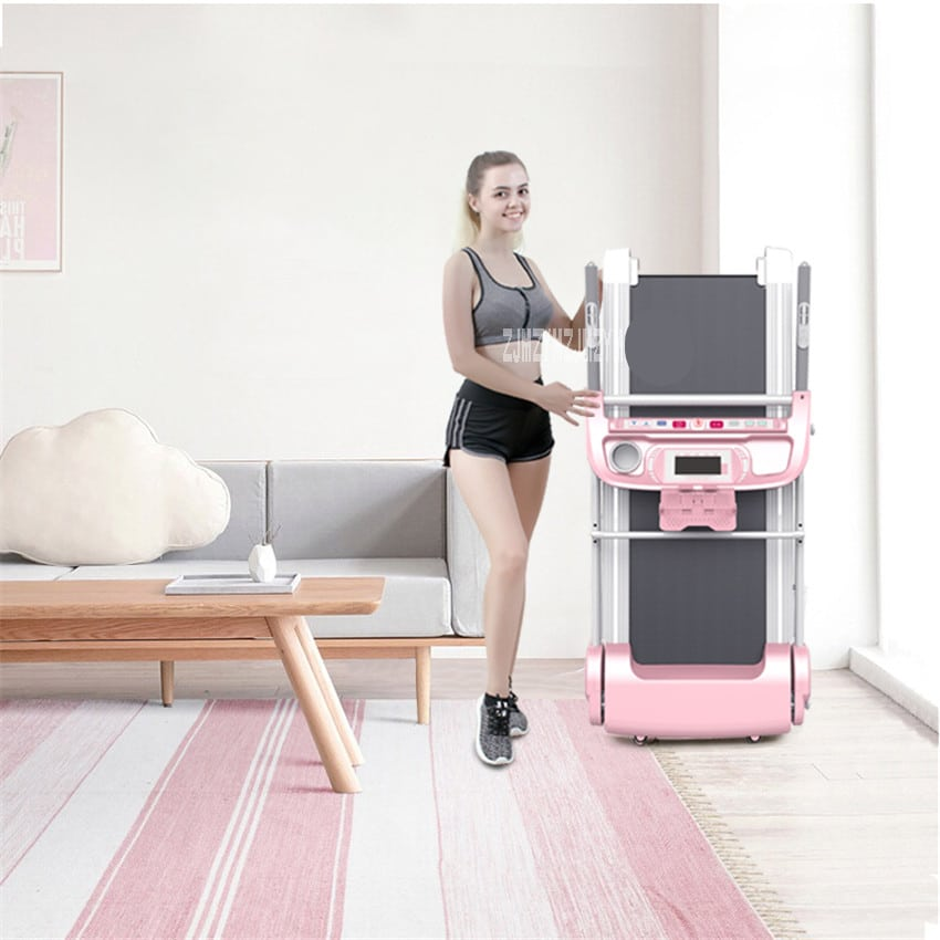 Foldable and Installation-Free Electric Walking Machine with Handrail for Health and Fitness