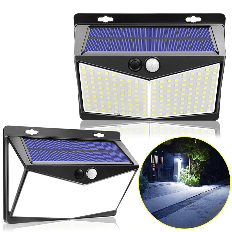 Waterproof and Wireless Ip65 Solar Outdoor Lights with 208 LEDs and 270 Degree Wide Angle Sensor