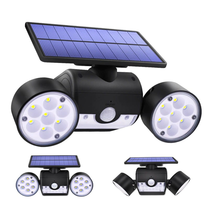 Dual Headed and Waterproof Solar Outdoor Light with 30 Adjustable Angled LED Lights for Garden and Street