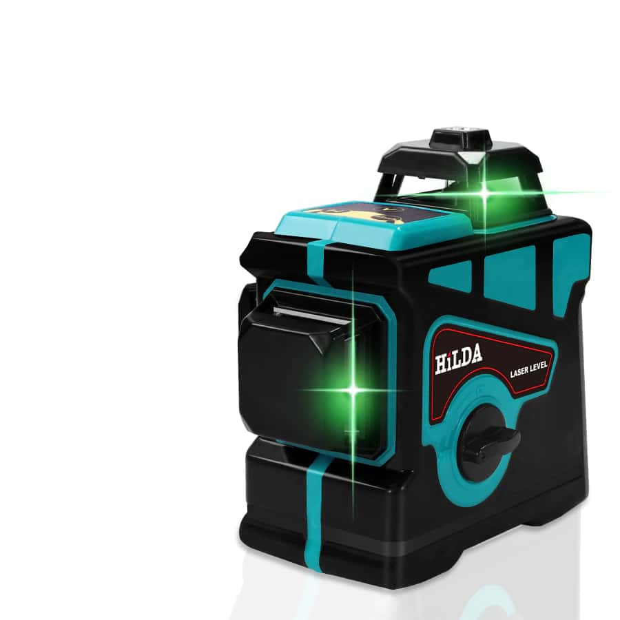 HILDA 12 Lines 3D Self Leveling Laser Level with 360 Degree Rotating Base and Green Laser Beam