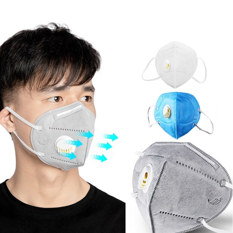 Wholesale Kn95 Mask ,Order Best Selling 100pcs Reusable KN95 Mask with Respiratory Valve with 5  Layers Filter and Plastic Nose Clip Online