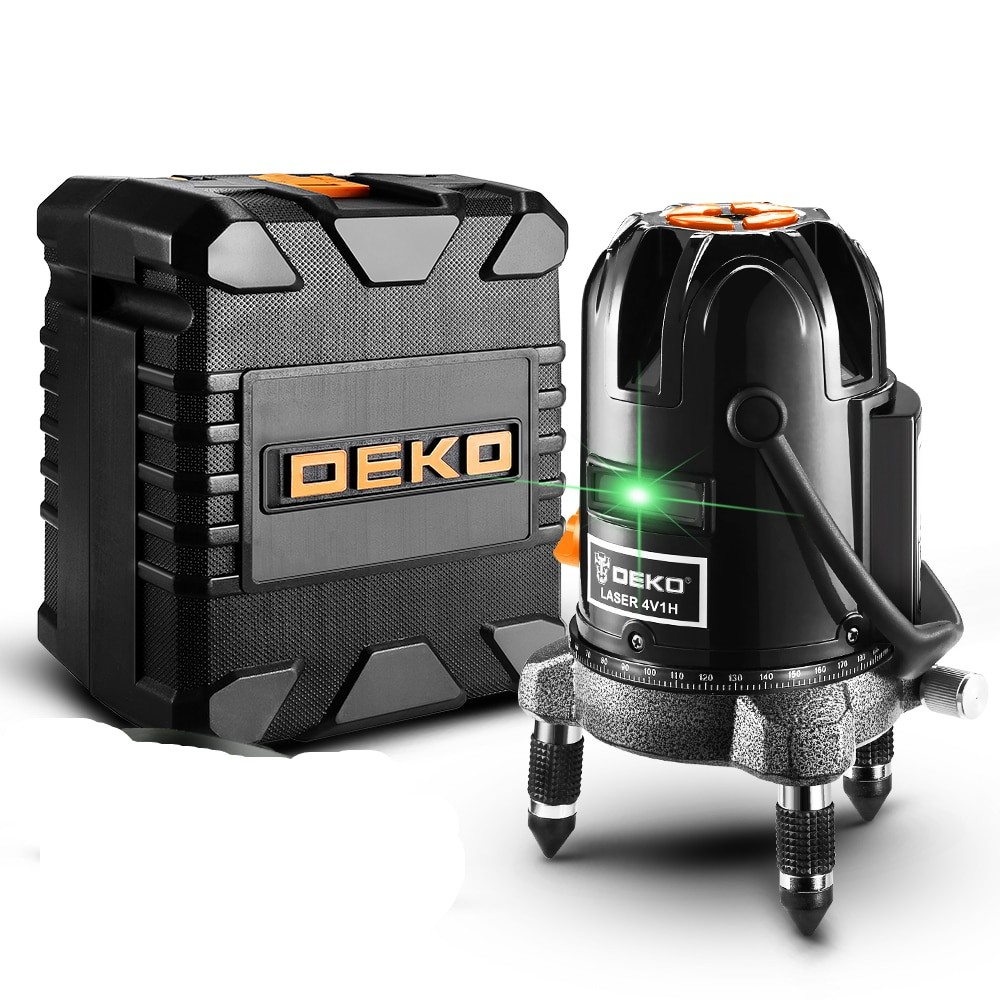DEKO LL57 LL58 Green Self leveling Laser levels with 5 Line Horizontal and Vertical Green Laser Lines