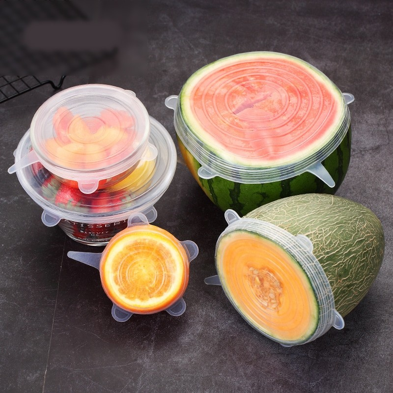 Reusable Silicone Stretch Lids as Kitchen Accessories with Side Handle for Covering Fruits after Cutting