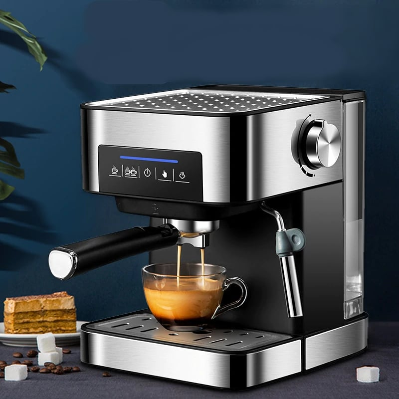1600ml Espresso Machine with Built-In Milk Frother and Detachable Frothing Nozzles