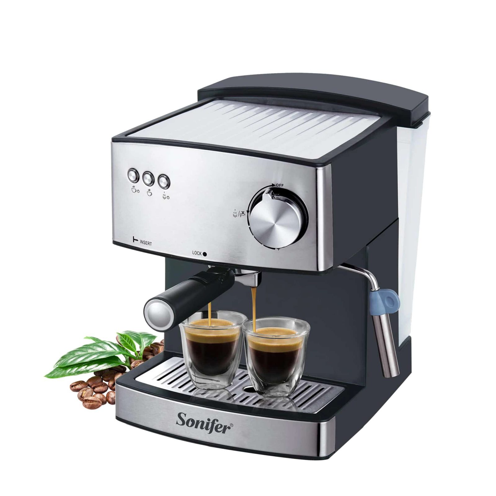 SONIFER Espresso Machine and Coffee Bean Grinder with Detachable and Transparent Water Tank