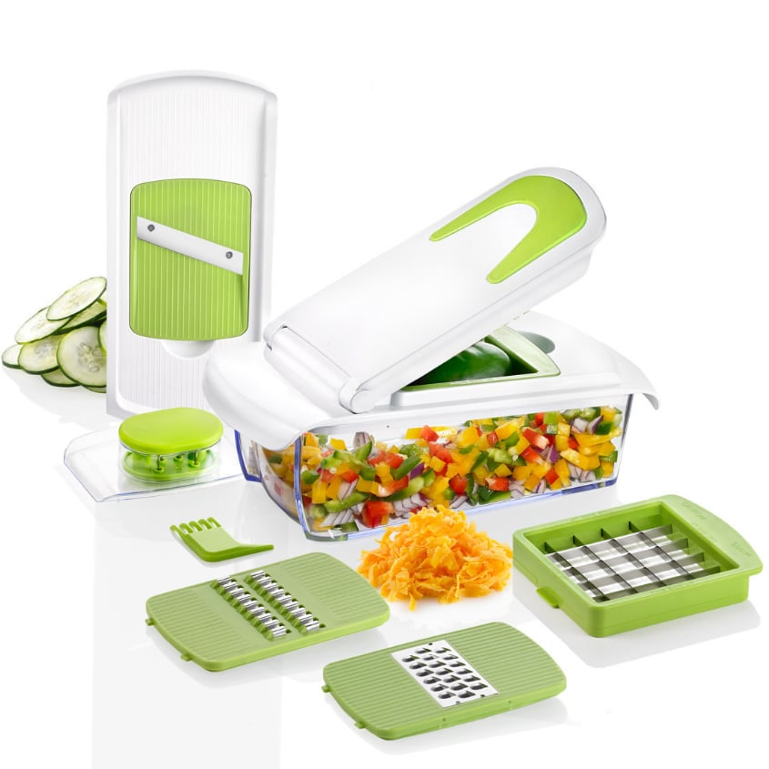 Kitchen Accessories and Vegetable Chopper with 7 Interchangeable Blades and Soft Grip Handle