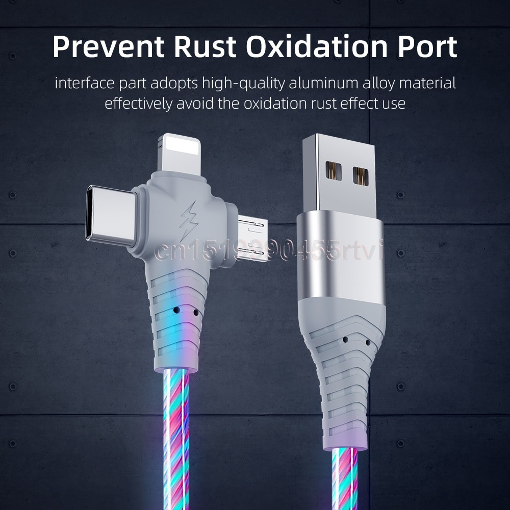 3in1 Luminous Lightning USB cable 5