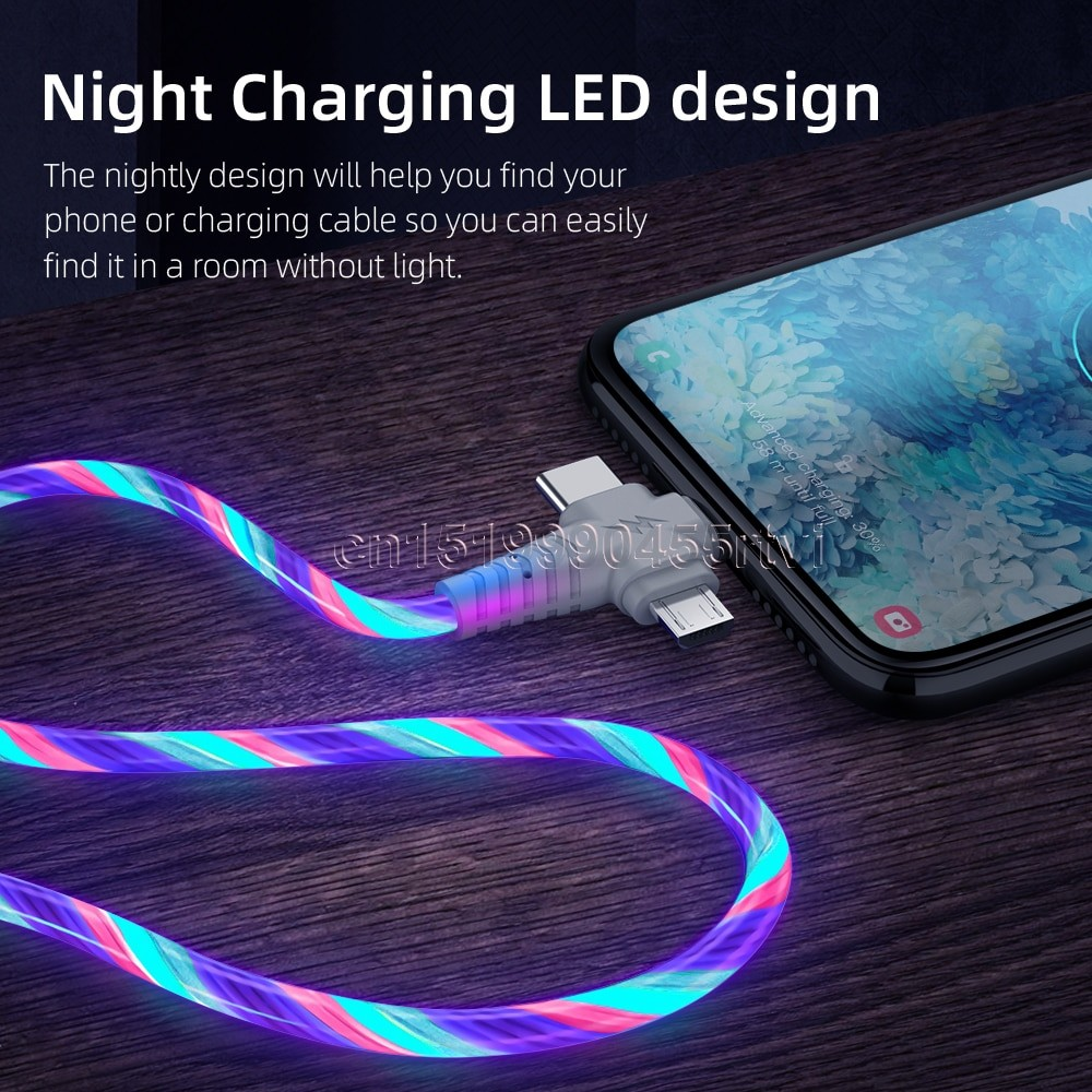 3in1 Luminous Lightning USB cable 2