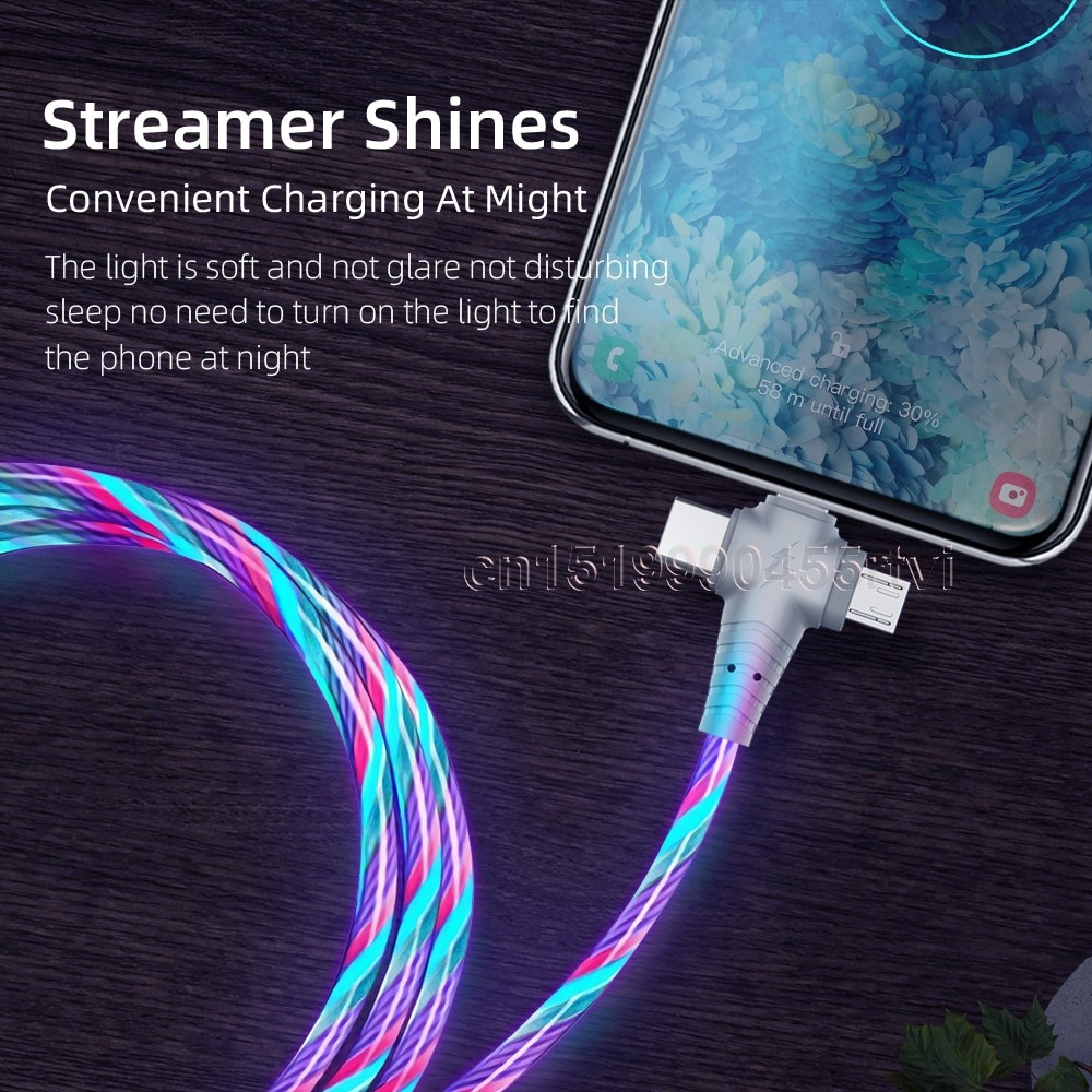 3in1 Luminous Lightning USB cable 4
