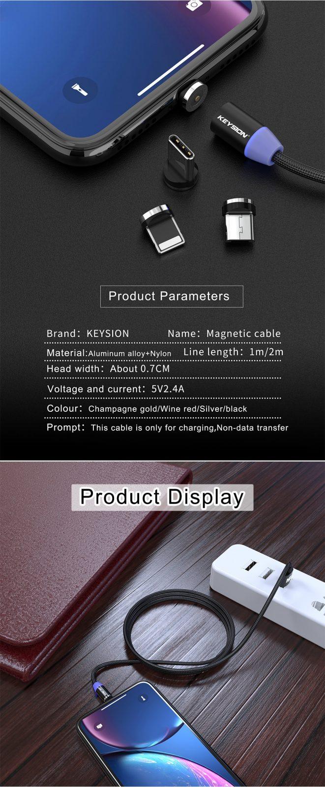 KEYSION LED Magnetic USB Cable