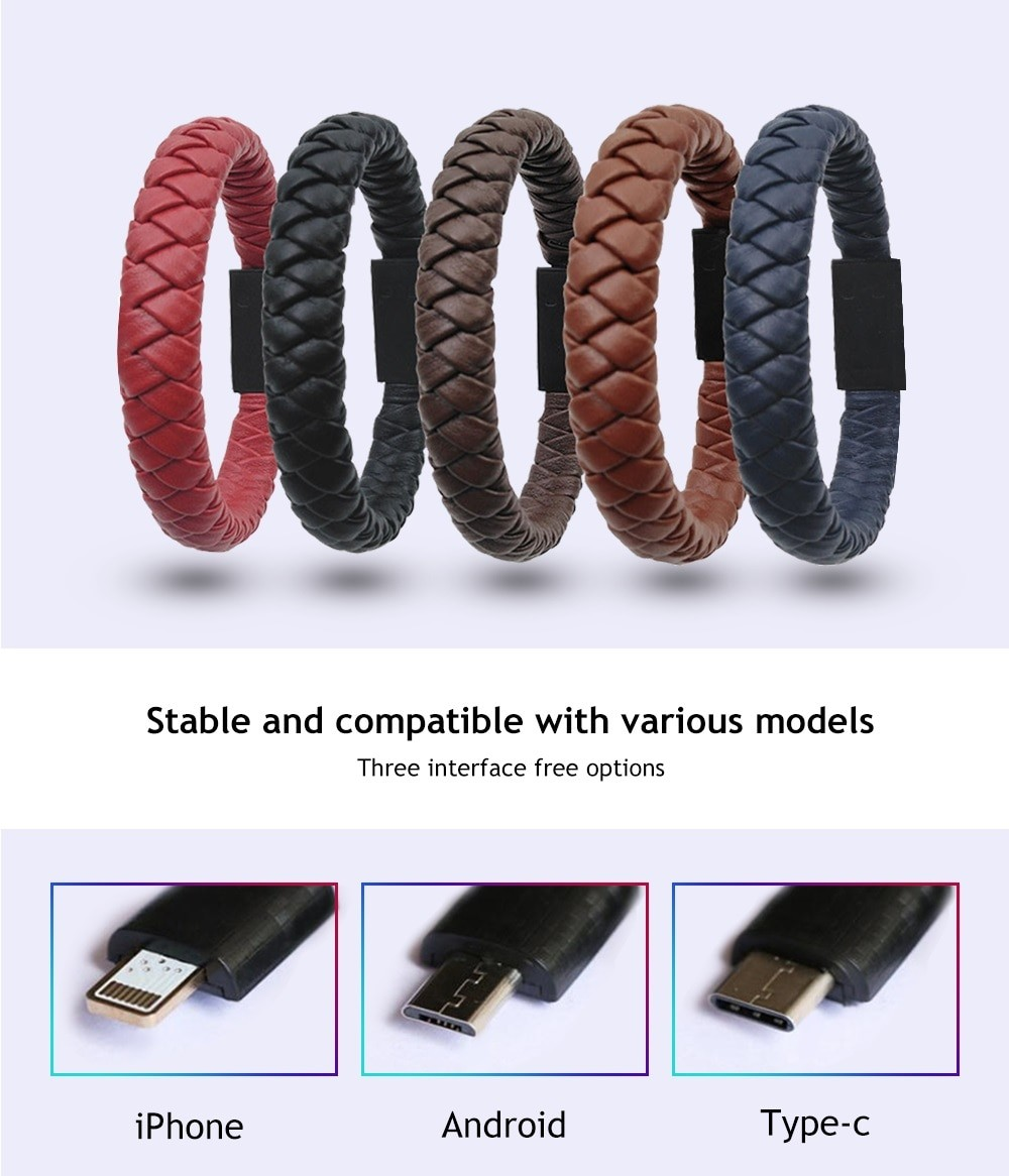 Portable Leather Data Charging Cable