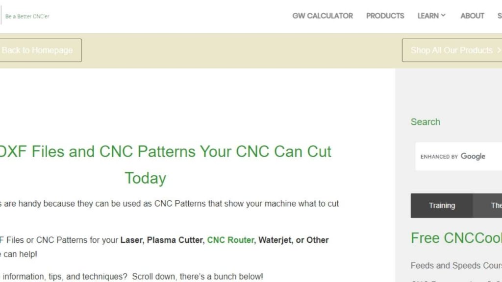 CNC Cookbook Site For Free DXF Files