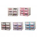 6PCS Transparent and Stackable Shoes Box Organizer of Plastic